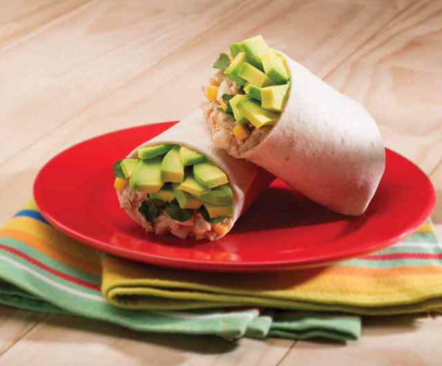 Egg Burritos with Tuna, Avocado and Corn