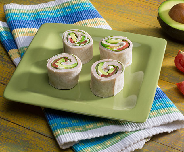 Avocado Turkey Tortilla Spirals