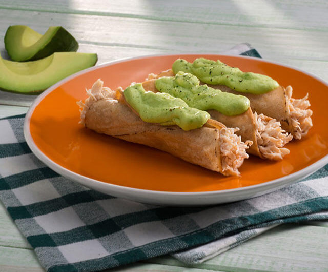 Chicken Flautas With Avocado Salsa