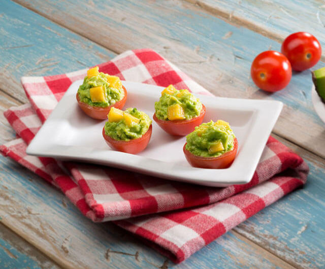 Cherry Tomatoes Stuffed with Guacamole And Mango