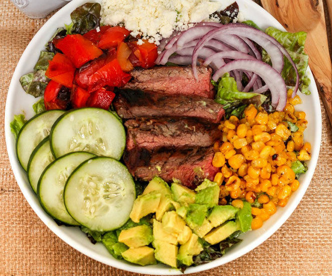 Steak Salad in a Creamy Avocado Dressing